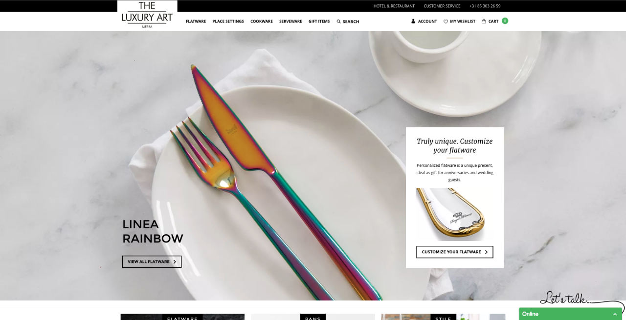Een screenshot van de homepage van The Luxury Art Mepra