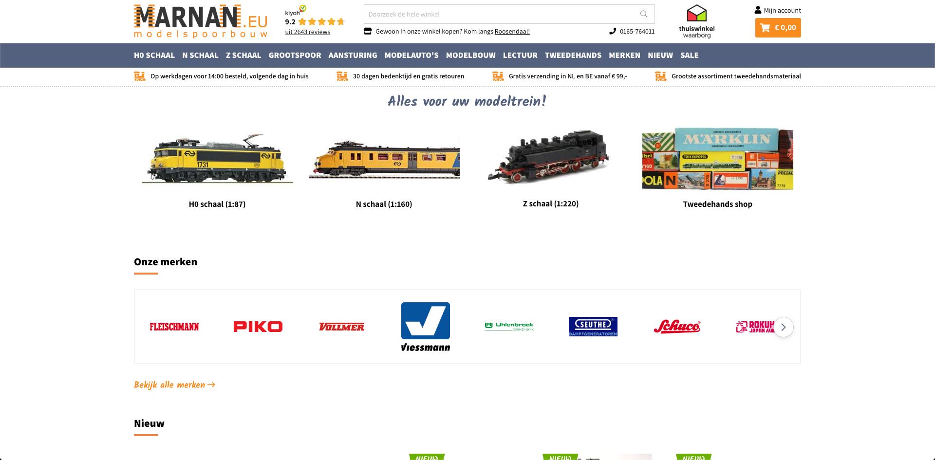 Marnan.eu webshop homepage