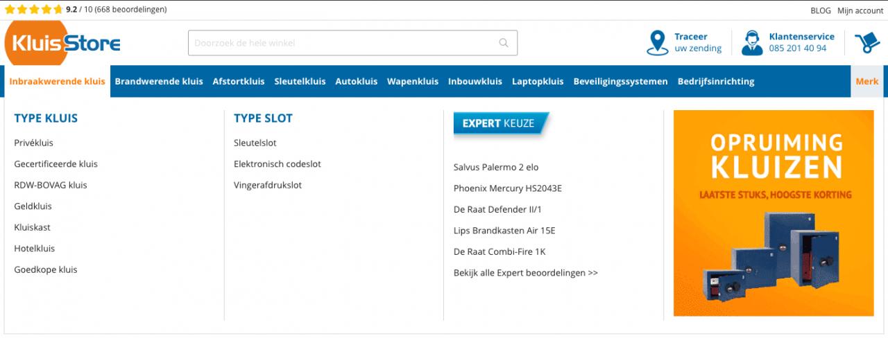 mega menu kluisstore.nl
