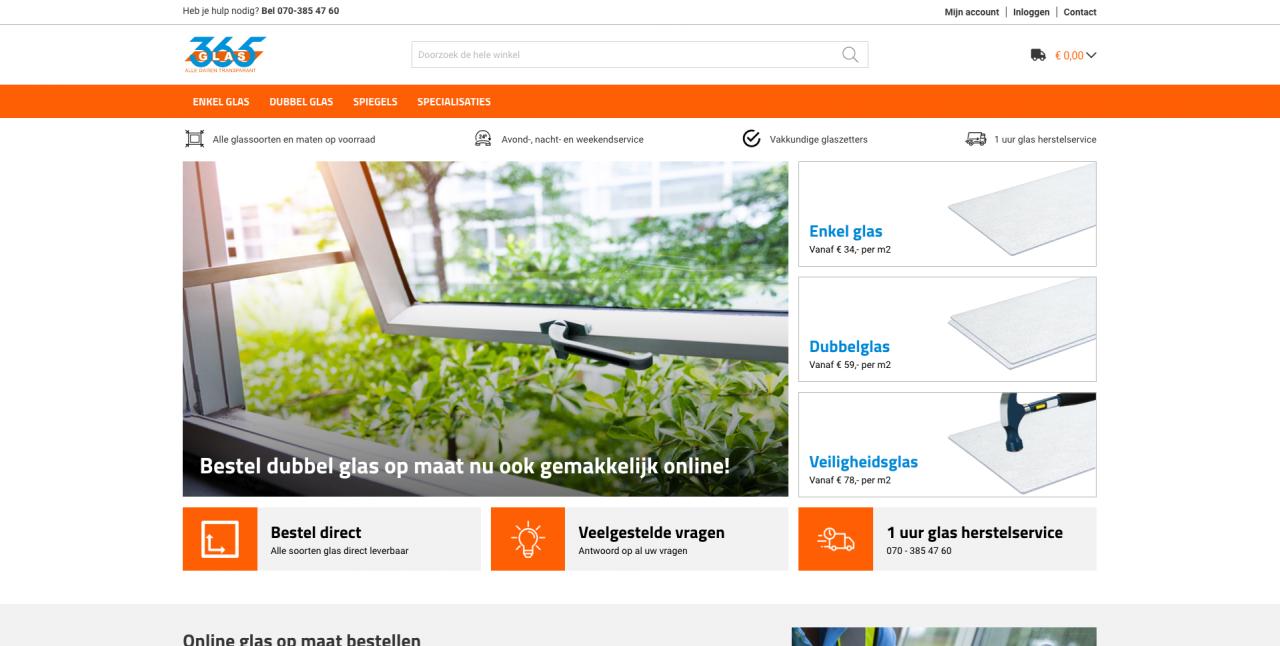Homepage 365glas.nl