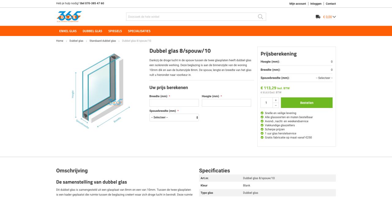 Glasconfigurator 365glas.nl