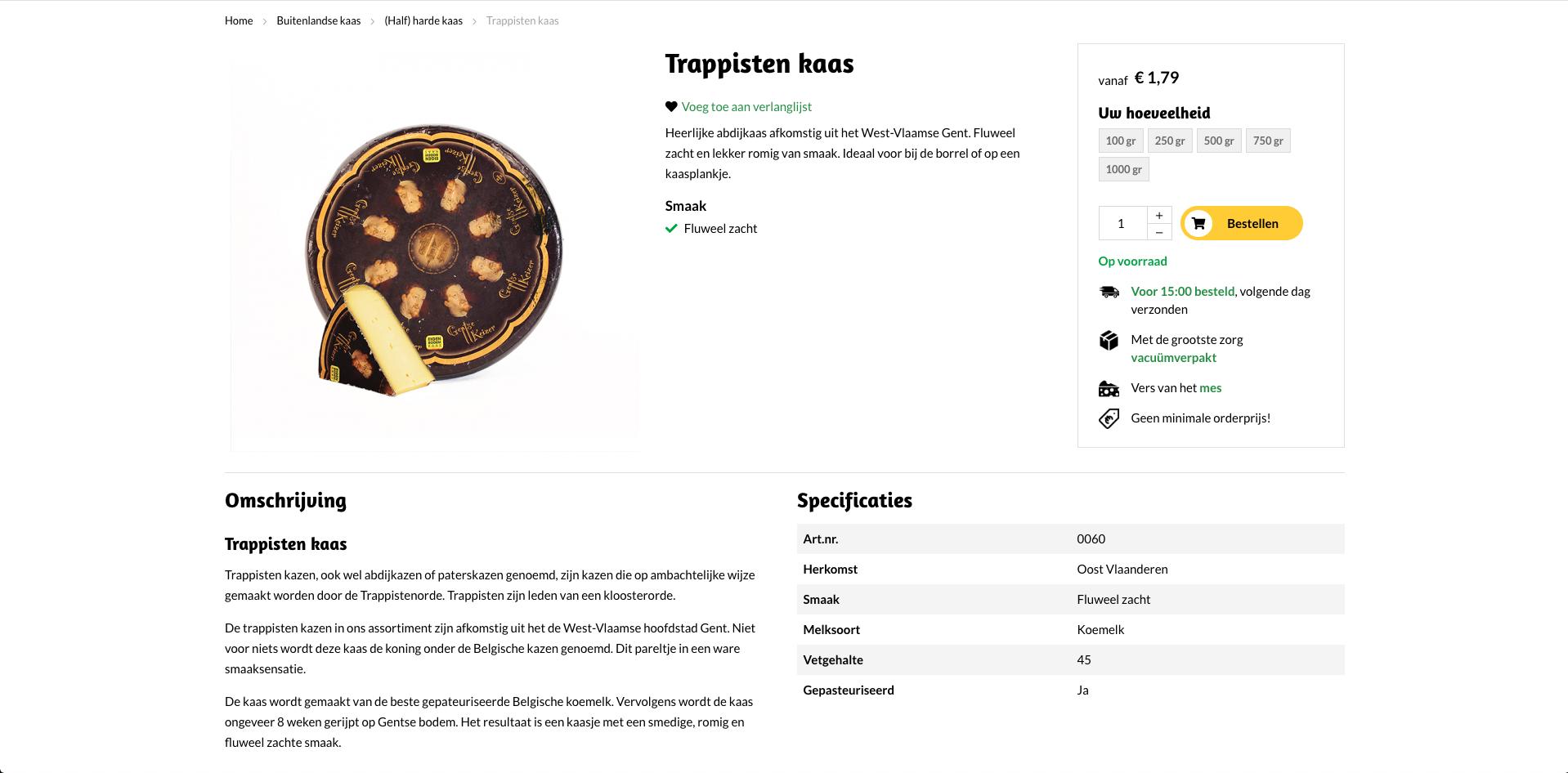 Productpagina webshop hoogendoornkaas